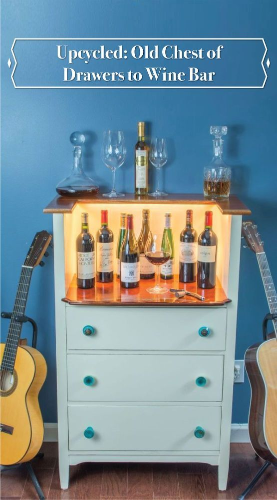 Upcycled Old chest of drawers turn wine bar?! Wow this is a creative DIY. This w...
