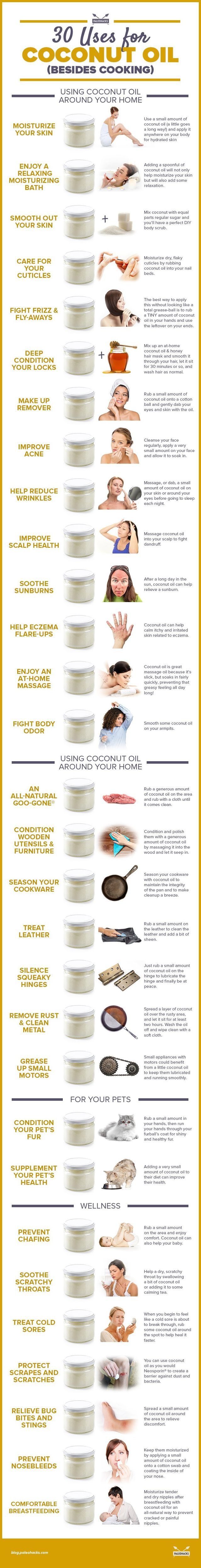 30 Uses for Coconut Oil (( Aside From Cooking ))