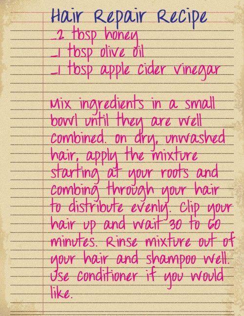 Hair repair recipe for dry and damaged hair. #diy #beauty #hair