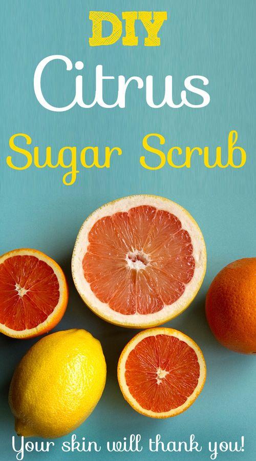 DIY Citrus Sugar Scrub- Smells and feels AMAZING