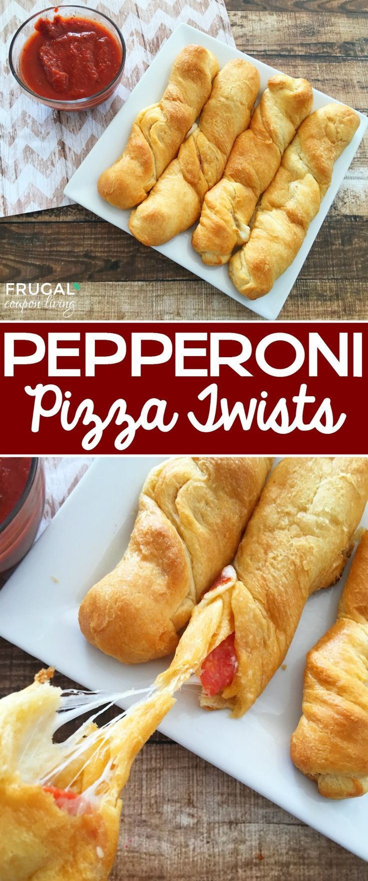 Homemade Pepperoni Pizza Twists made with Crescent Rolls on Frugal Coupon Living...
