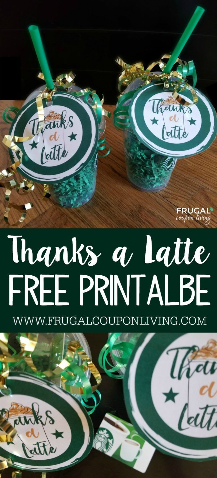 Free Thanks a Latte Printable. This makes an adorable Starbucks Gift Card Tag. T...