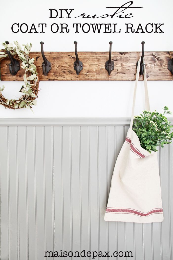 This DIY towel rack is gorgeous! The rustic finish and strong, sturdy hooks make...