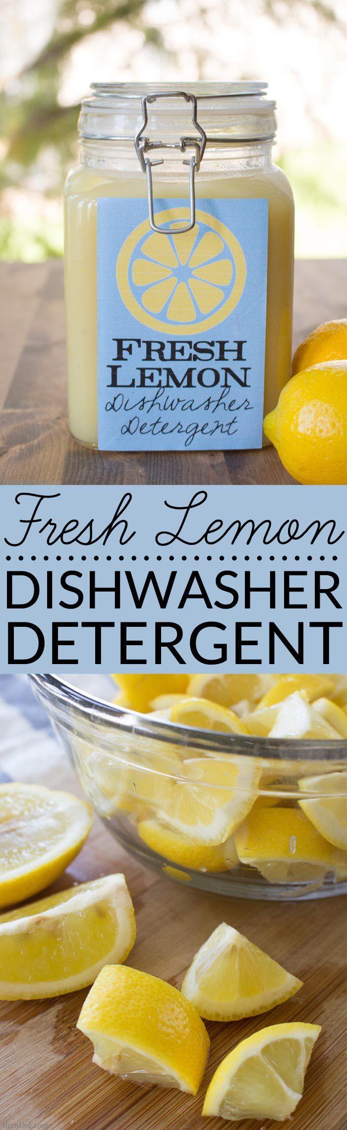 Fresh Lemon Homemade Dishwasher Detergent uses real lemons, salt and vinegar to...