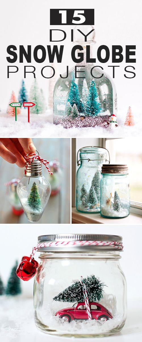 15 DIY Snow Globe Projects! • Click thru to see all kinds of snow globe ideas,...