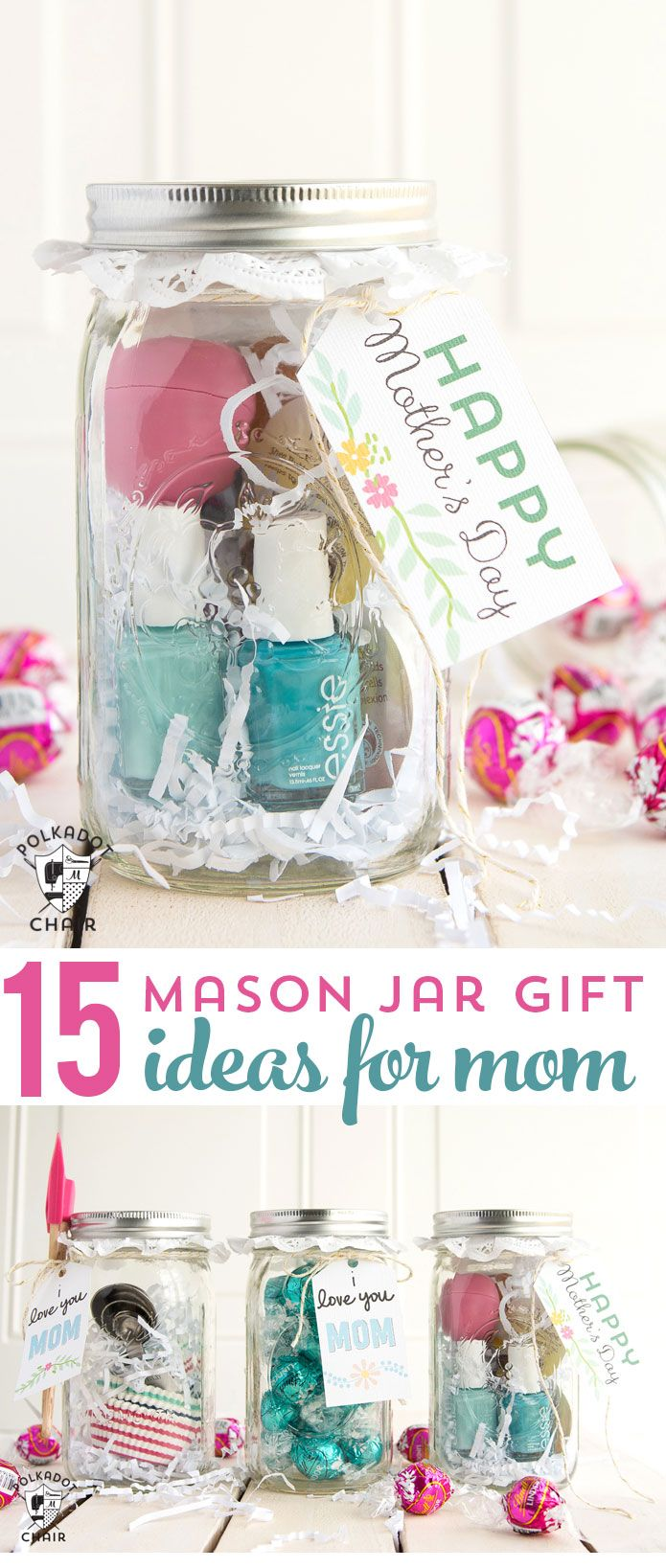 15 cute and clever ways to make Mason Jar Gifts for Mom- so cute for Mother'...