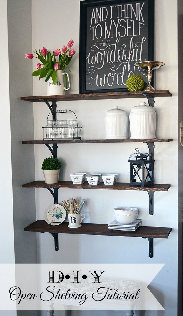 An Easy Tutorial on how to build stained, open kitchen shelving which fills a bl...