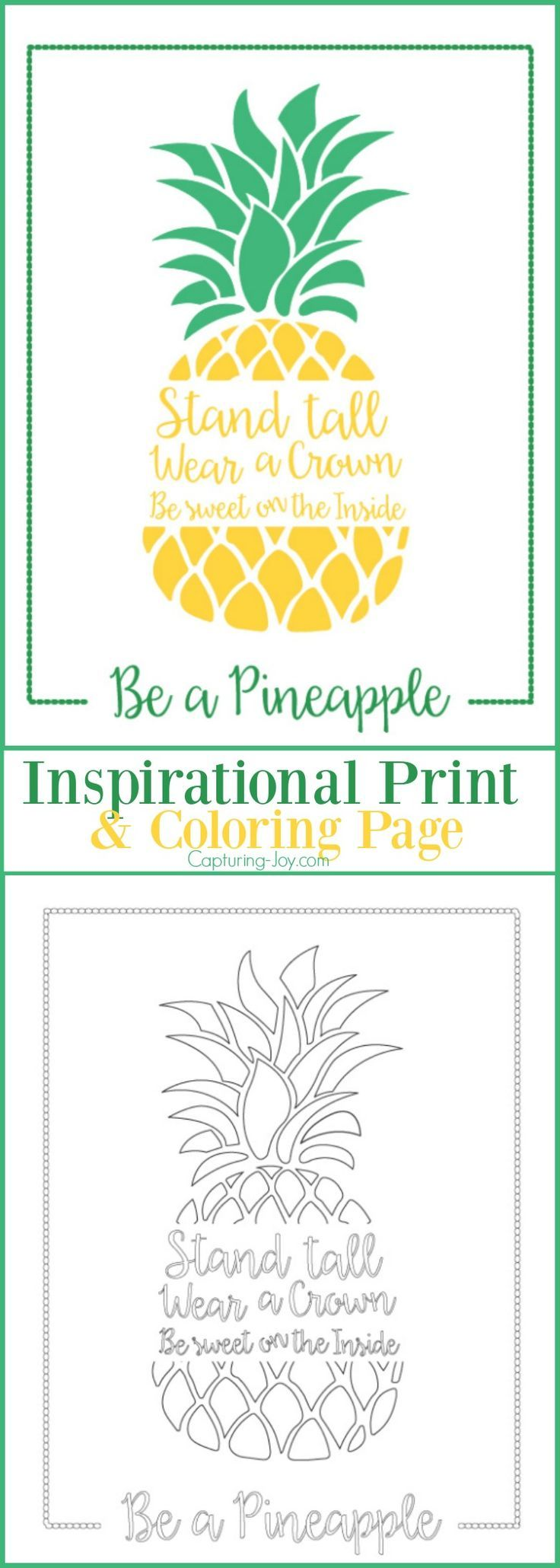 Be a Pineapple Inspirational Print and Coloring Page | This is a fun summer bore...