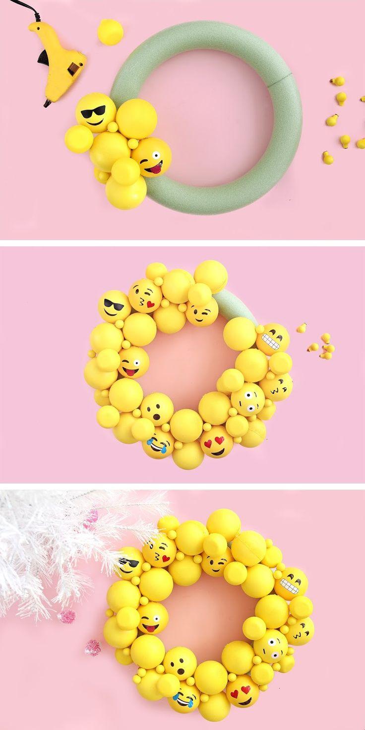 Click here! DIY Emoji Ornament Wreath tutorial!