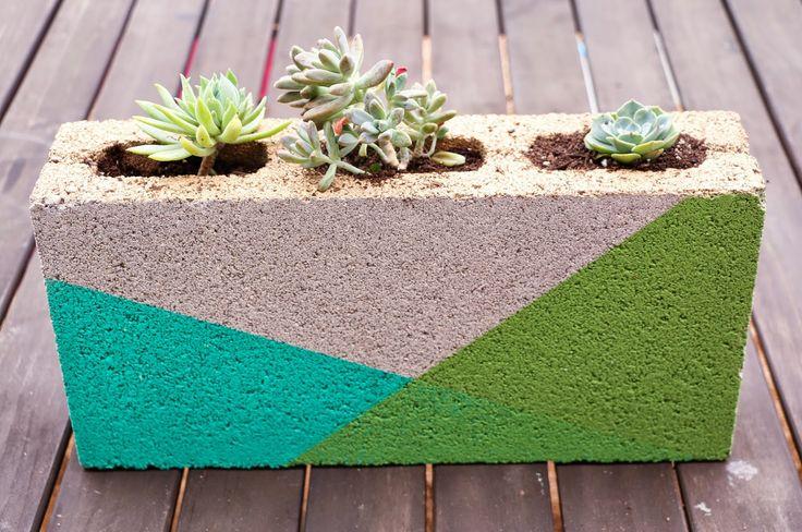 Colorblocked Cinder Block Planter. DIY, garden, gold, home decor, spray paint, h...