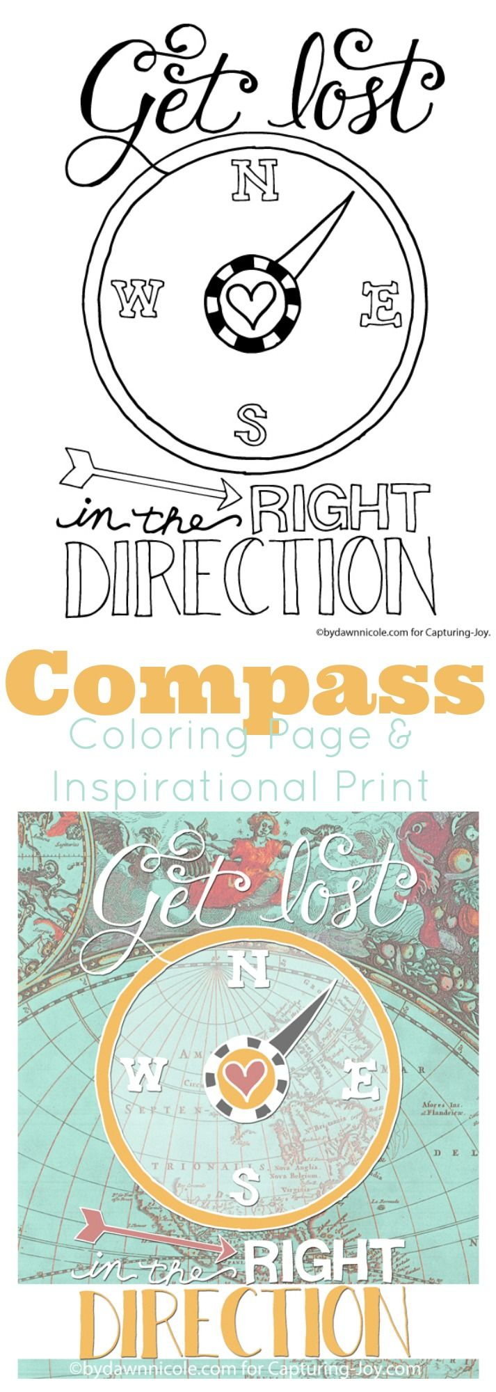 Compass coloring page and inspirational print the kids will love to color.