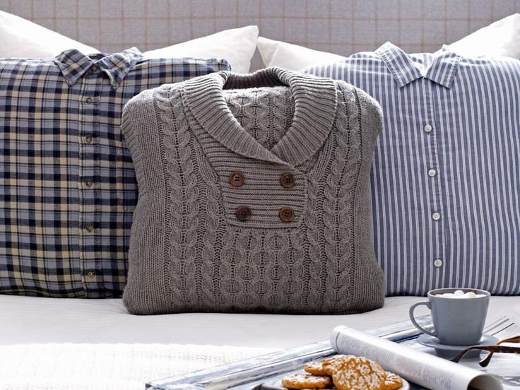 Cozy pillows from repurposed menswear.