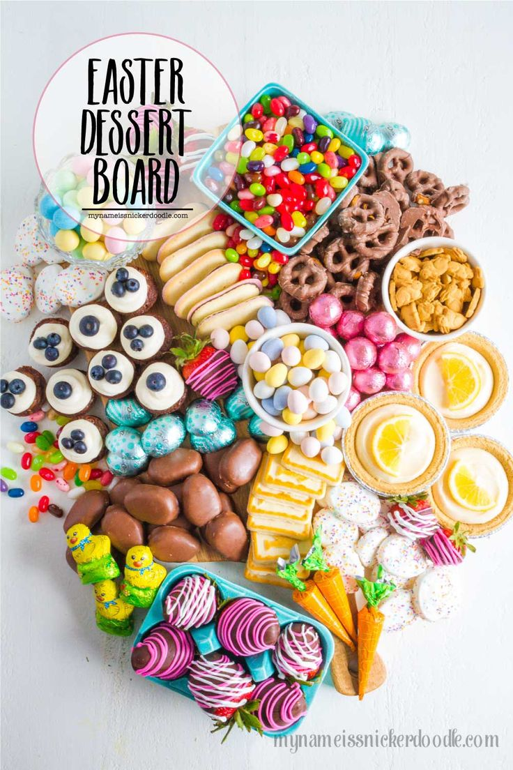 Create this Easter Dessert Board with your favorite holiday candies and treats! ...