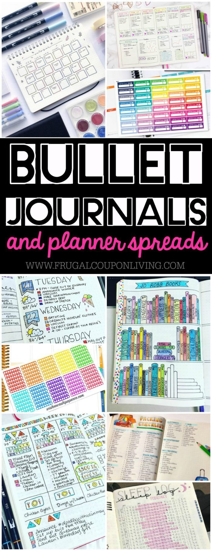 Creative Bullet Journal Ideas and Planner Spreads to organize your life. Inspiri...