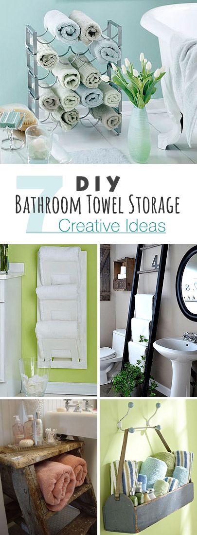 DIY Bathroom Towel Storage: 7 Creative Ideas! • Click thru to see seven easy D...