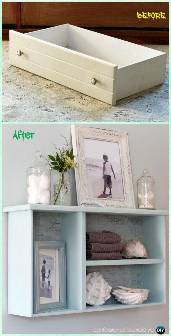 Diy Crafts Dresser Drawer Bathroom Shelf Instruction