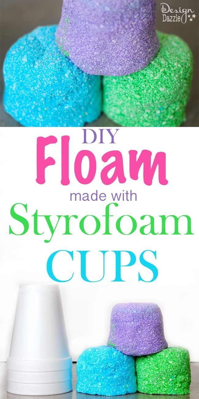 DIY Floam for Kids using styrofoam cups. Super easy and inexpensive way to make ...