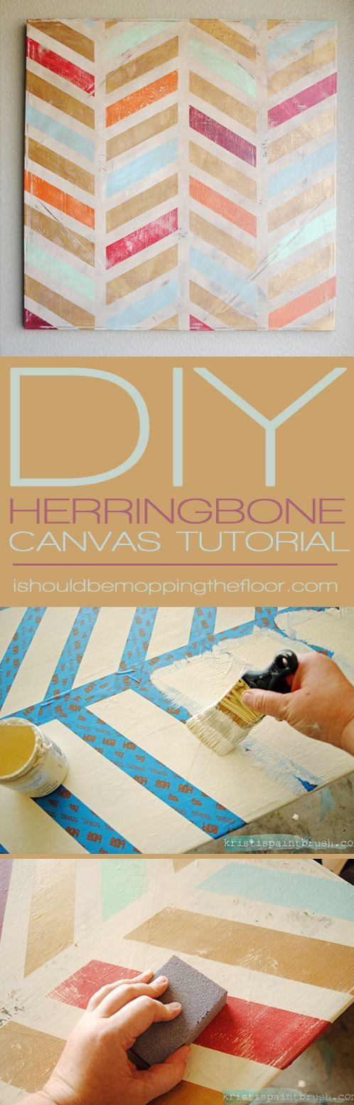 DIY Herringbone Canvas Art | Step-by-step instructions to create a fun piece of ...