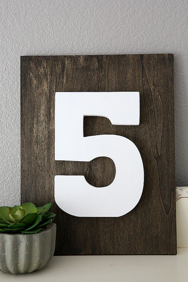DIY Home Decorating Ideas | Family Number sign. So easy to make and looks great ...