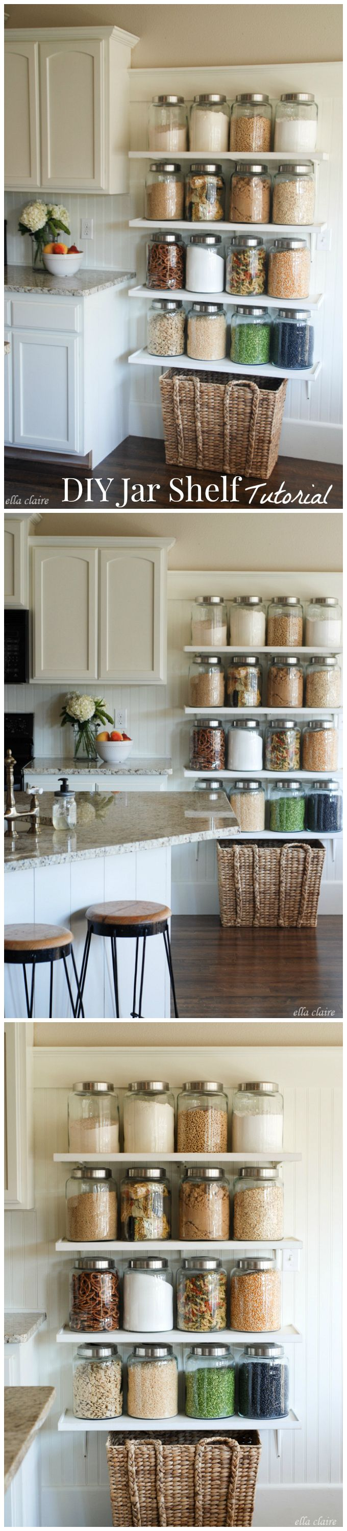 DIY Jar Shelf Tutorial! A beautiful and practical way to add more storage to you...
