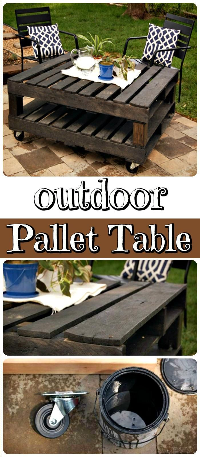 DIY Outdoor Pallet Coffee Table on Wheels - 150 Best DIY Pallet Projects and Pal...