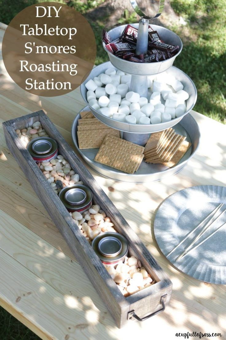 DIY Tabletop S'mores Roasting Station. No need to make a fire for S'more...