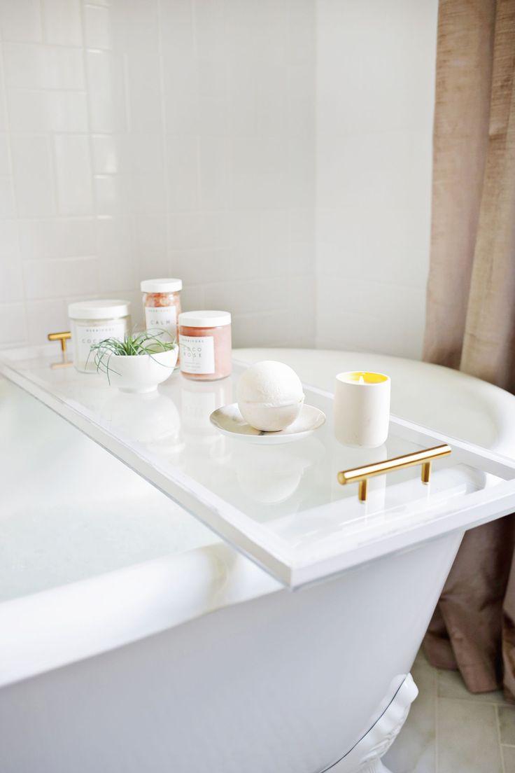 DIY: lucite bathtub caddy