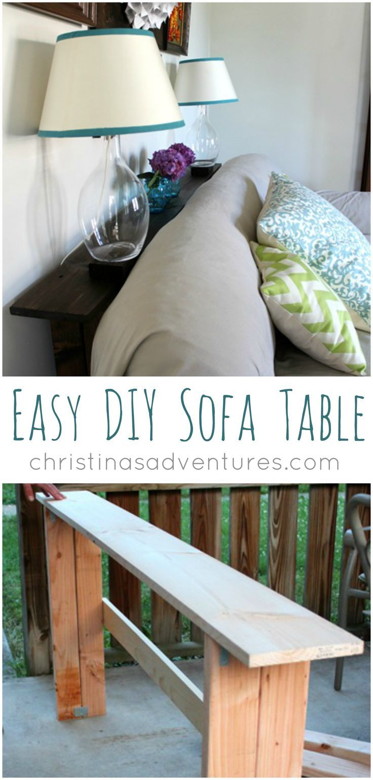 DIY sofa table - so simple to make! Perfect for holding lamps, books, and decora...
