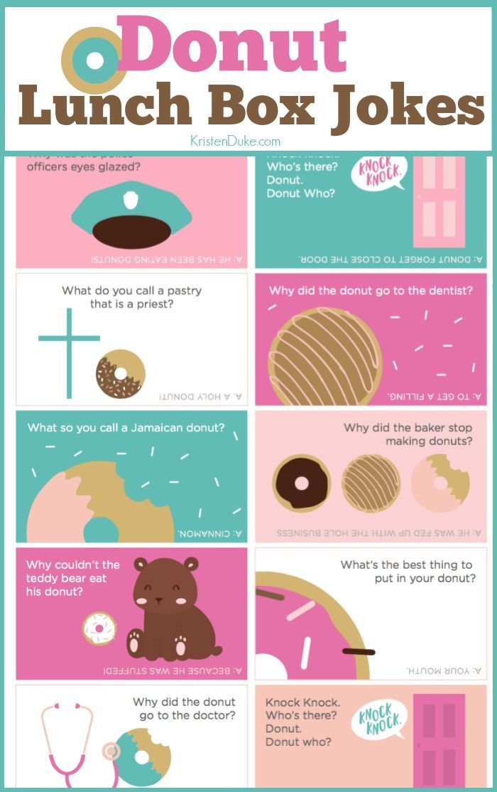 Donut Lunch Box Jokes. Kids love finding these in their lunches at school. Great...