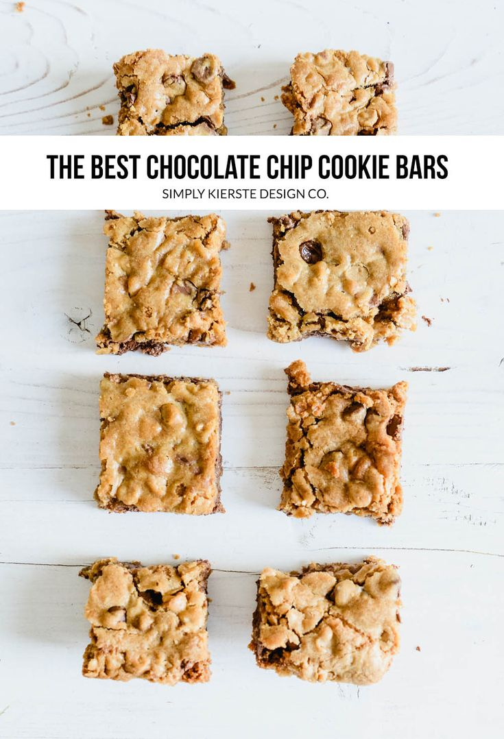 Easy Chocolate Chip Cookie Bars | These quick and easy Chocolate Chip Cookie Bar...