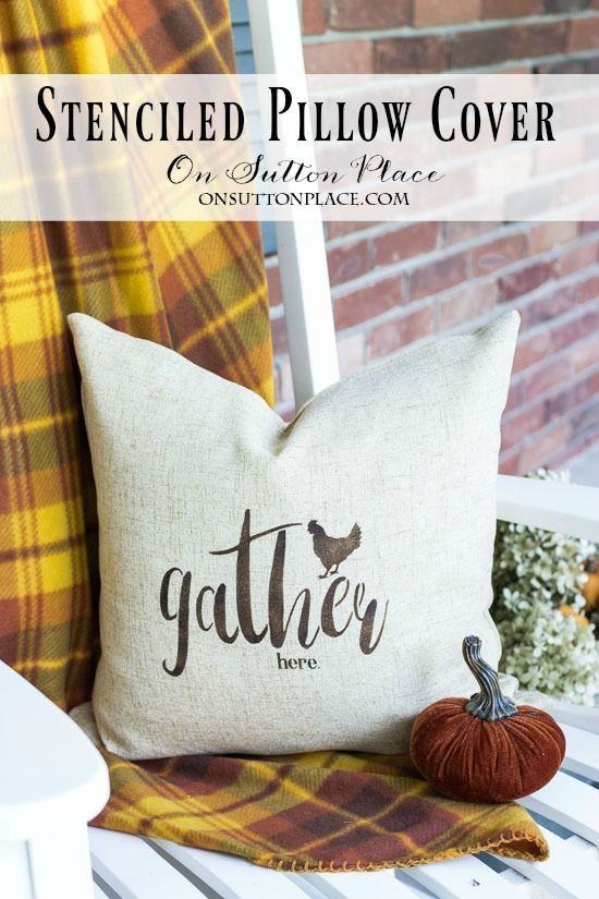 Easy Stenciled Pillow Cover | Gather Here | Make this farmhouse style pillow cov...