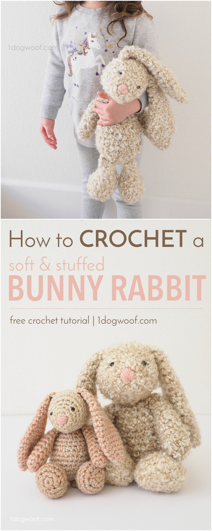FREE crochet pattern to make a classic stuffed bunny amigurumi. Great for Easter...