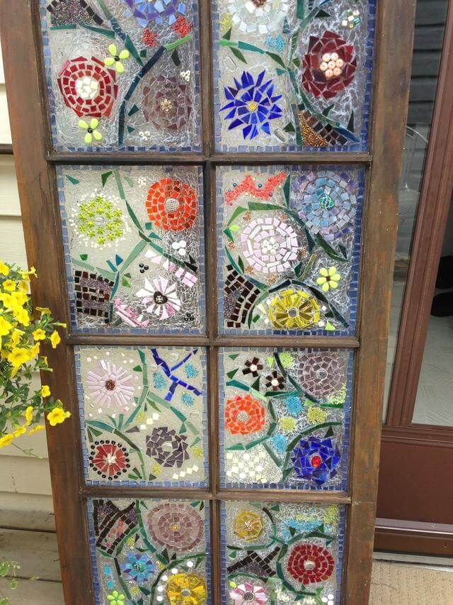 Floral Mosaic Window Garden Art