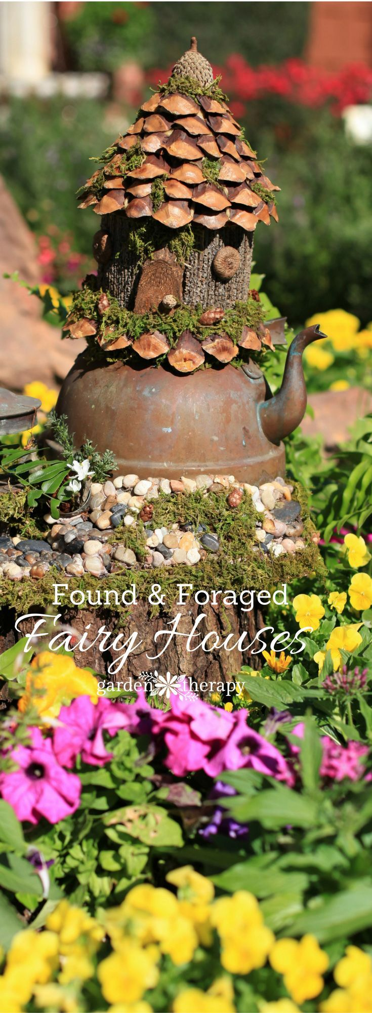 Found materials like mushrooms, pine cones, and branches make little foraged fai...