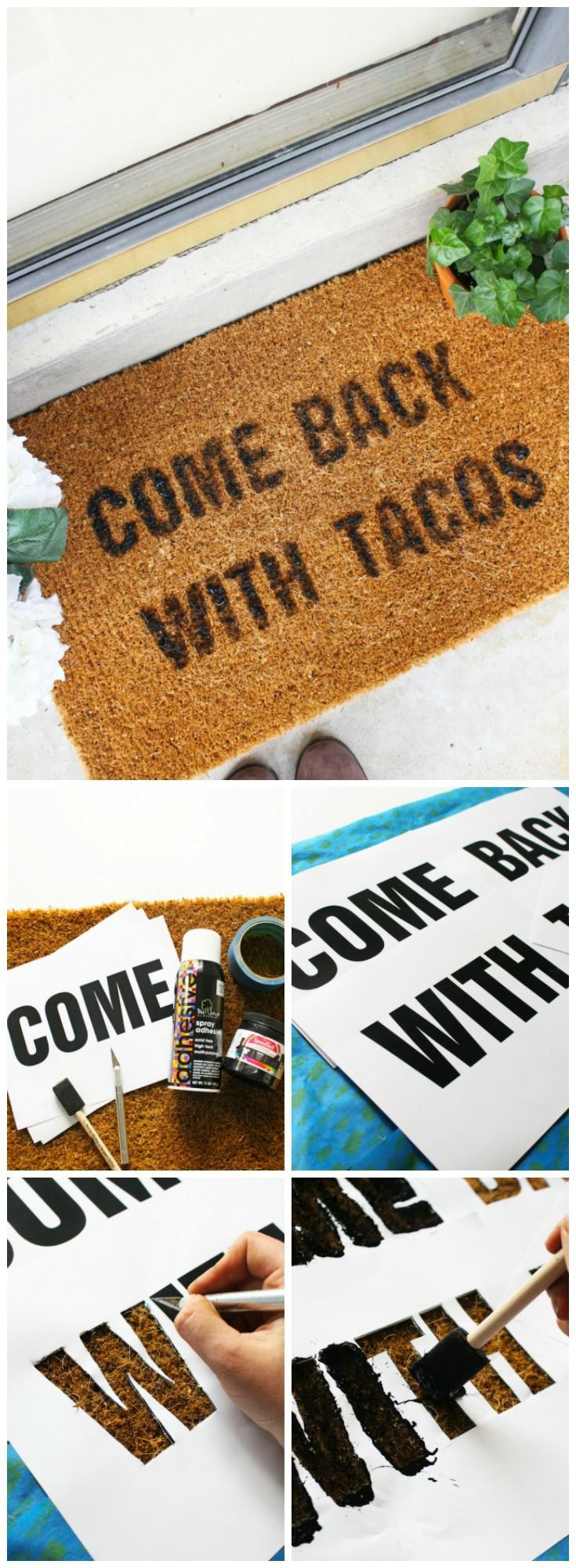 Funny doormat quote DIY tutorial. Easy welcome mat DIY ideas to decorate your fr...