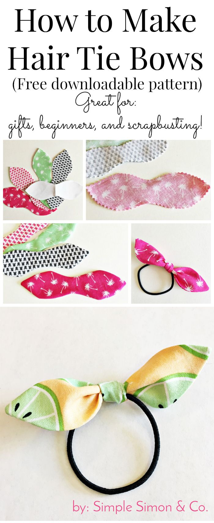 How to make hair ties with fabric - a free tutorial to make knotted hair ties. #...