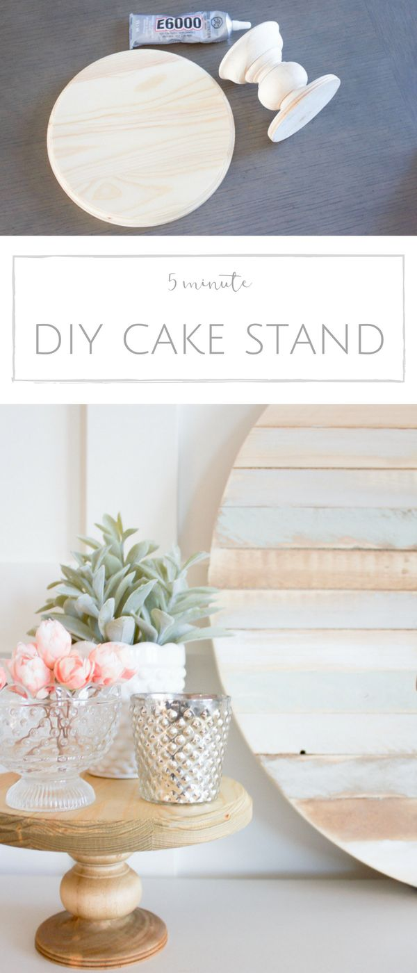 How to make your own rustic DIY wood cake stand in just 5 minutes. | www.makingi...