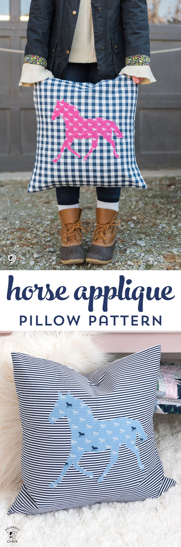 How to sew a horse applique pillow, a free sewing pattern using Derby Day fabric...