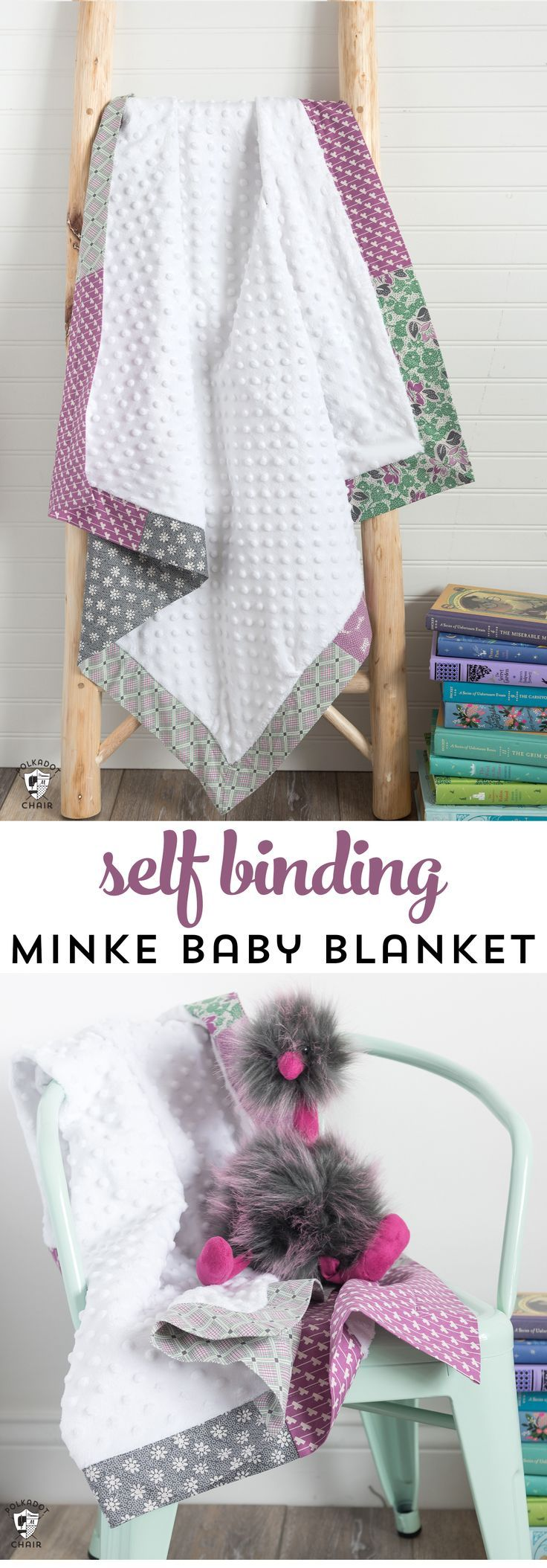 How to sew a self binding baby blanket with minke fabric. An easy baby blanket t...