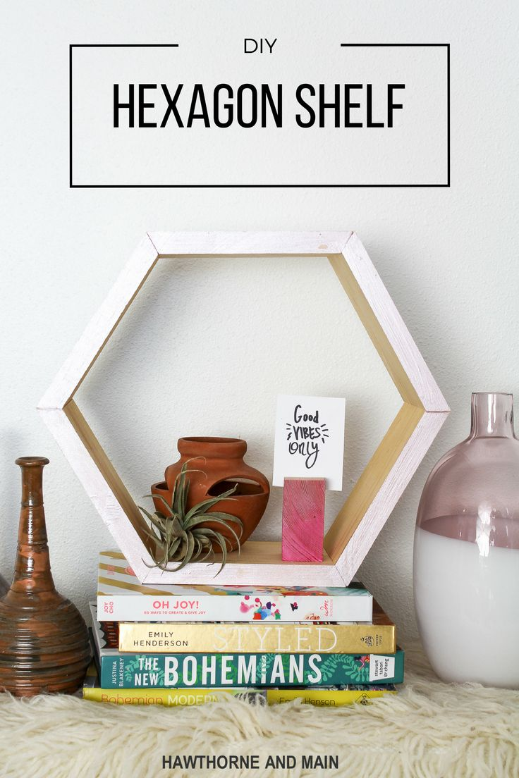 I love this modern DIY hexagon shelf! It looks easy to make and would be perfect...