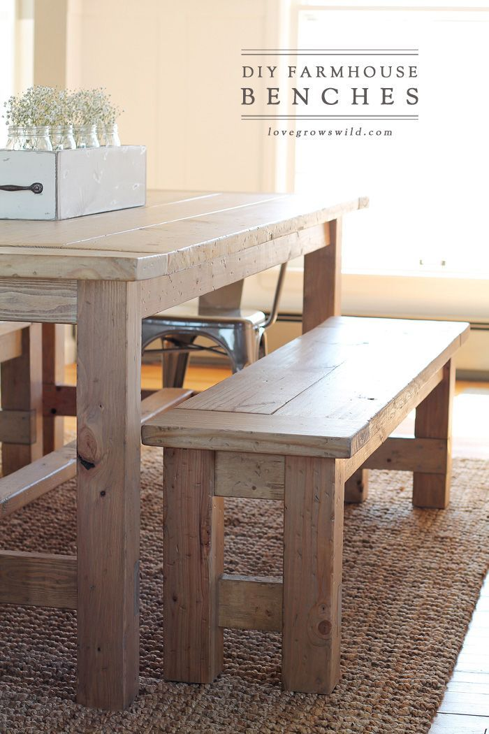 Learn how to build an easy DIY Farmhouse Bench - perfect for saving space in a s...