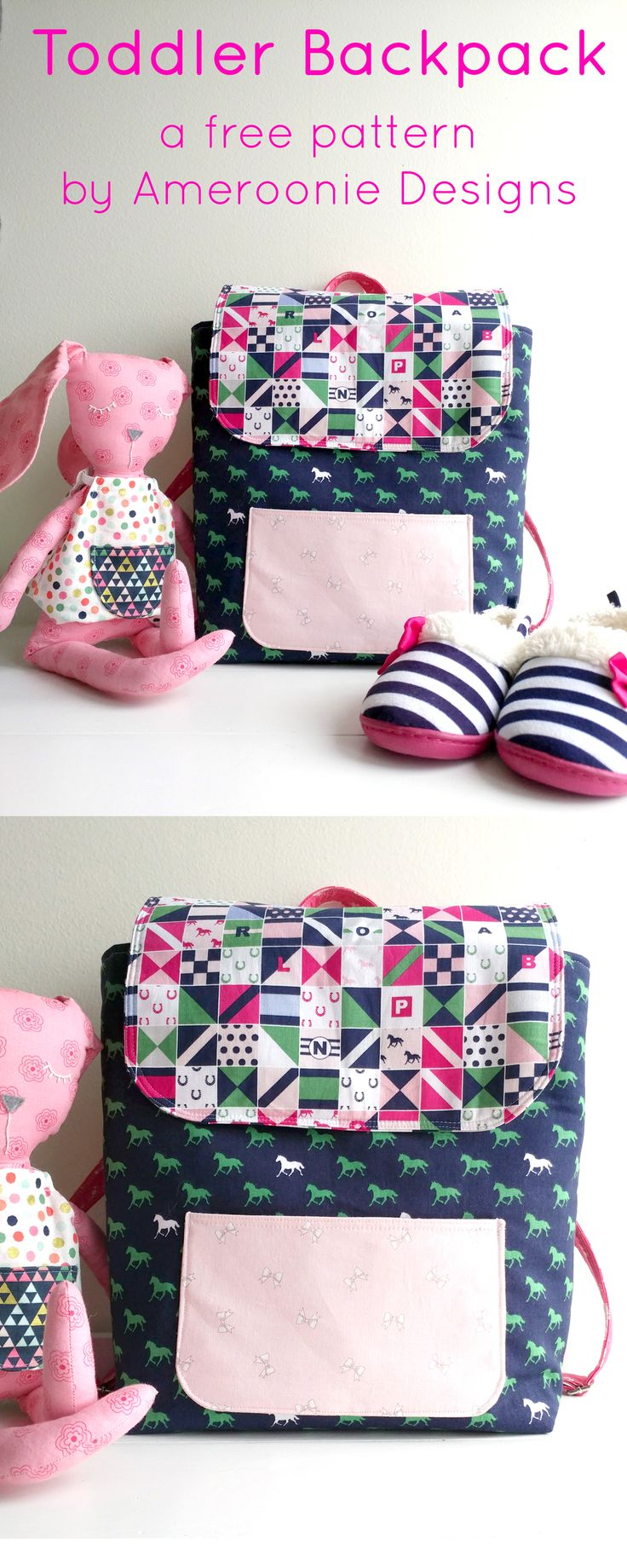Learn how to sew a mini backpack with this cute toddler backpack pattern. Stitch...