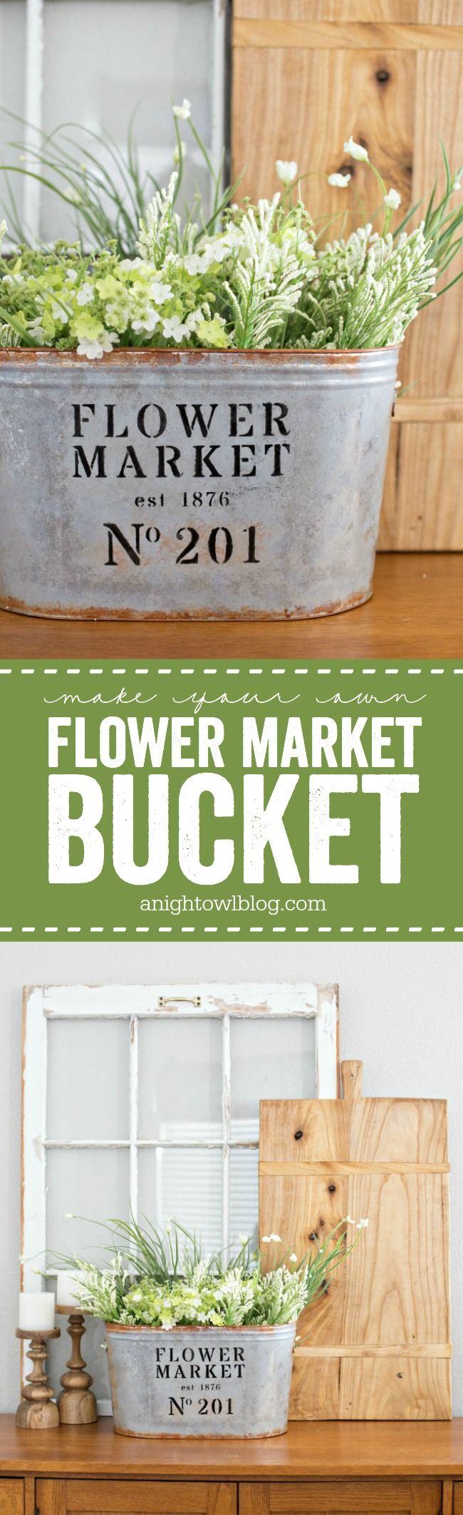 Love a modern farmhouse look for less? Make your own DIY Metal Flower Market Buc...
