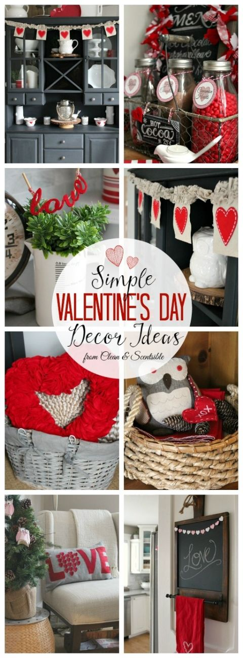 Love all of these simple Valentine's Day decor ideas! // cleanandscentsibl...