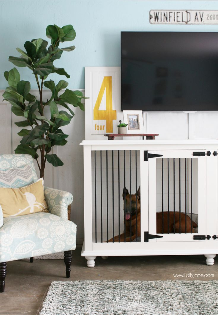 Love this dog furniture crate! This trendy tv stand doubles as a wood farmhouse ...