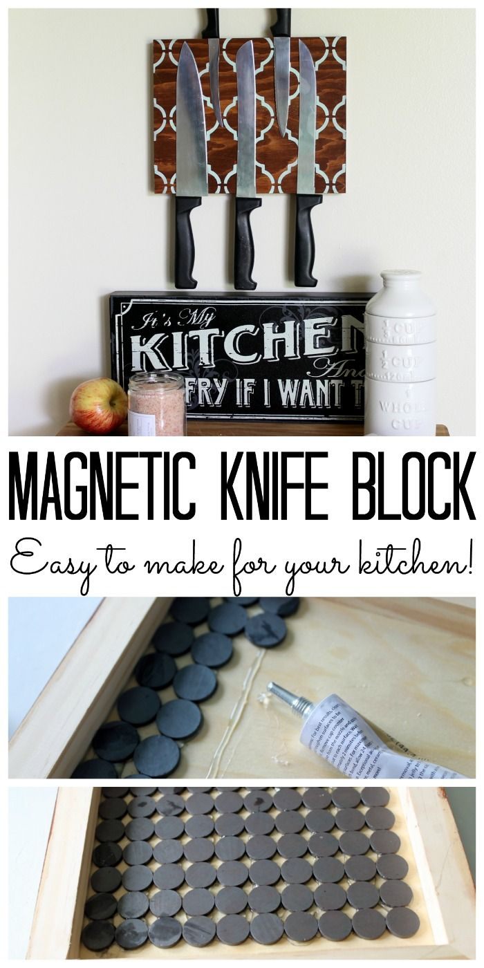 Make a magnetic knife block for your kitchen! A great way to organize your knive...