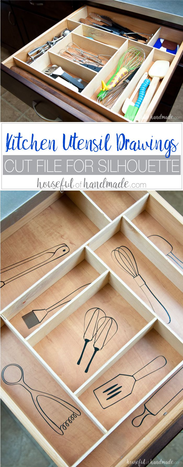 Organize your kitchen drawers and keep them organized with these fun kitchen ute...