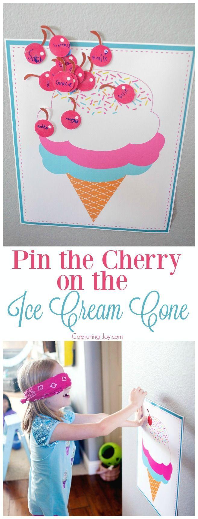 Pin the Cherry on the Ice Cream Cone Activity - Fun birthday party activity. Cap...
