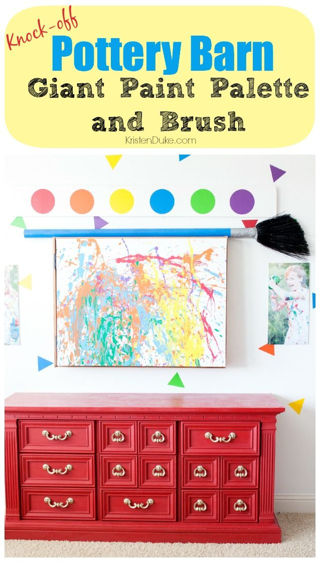 Pottery Barn Knock-off Giant Paint Palette and Brush, how to make your own out o...