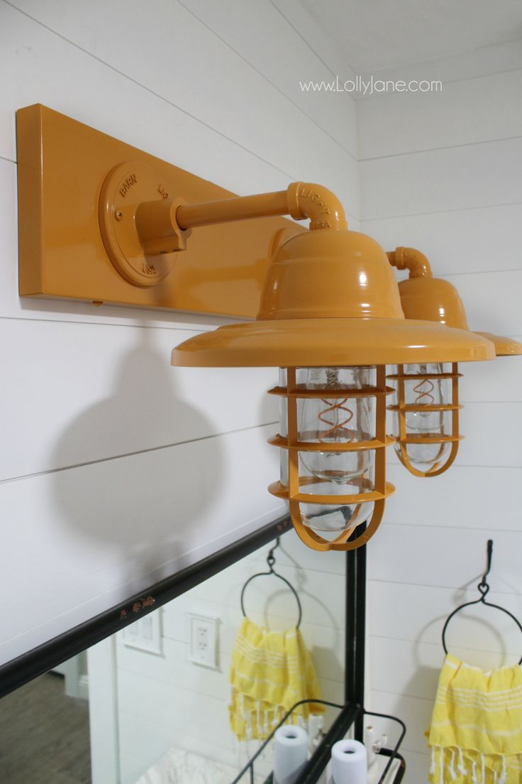 Diy Crafts So In Love With This Yellow Barn Light Bathroom Decor